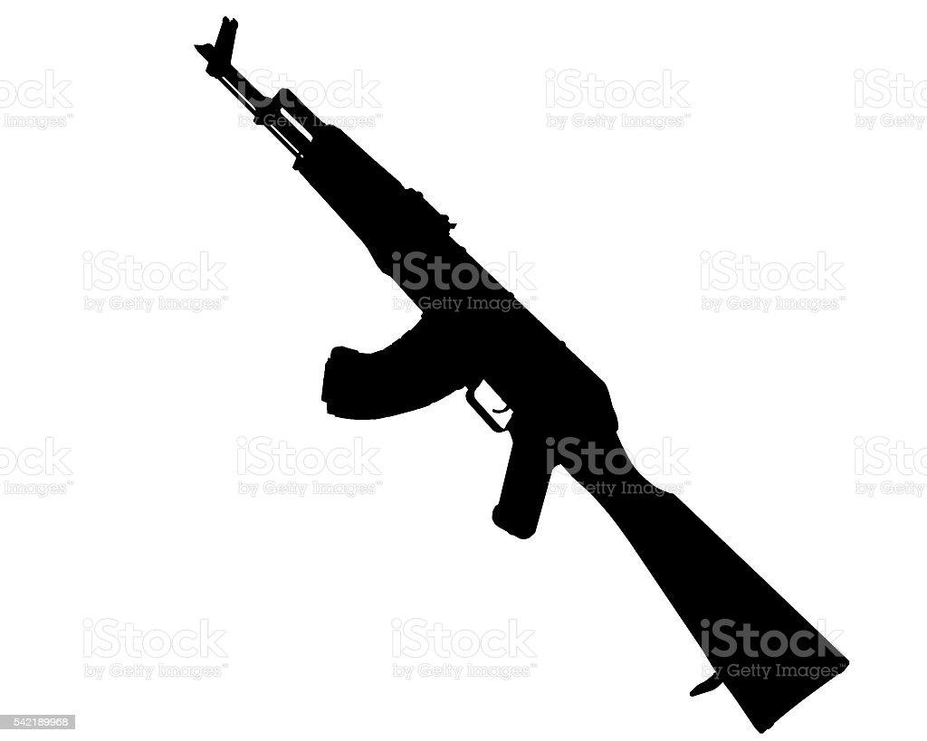akm assault rifle black and white stock photo