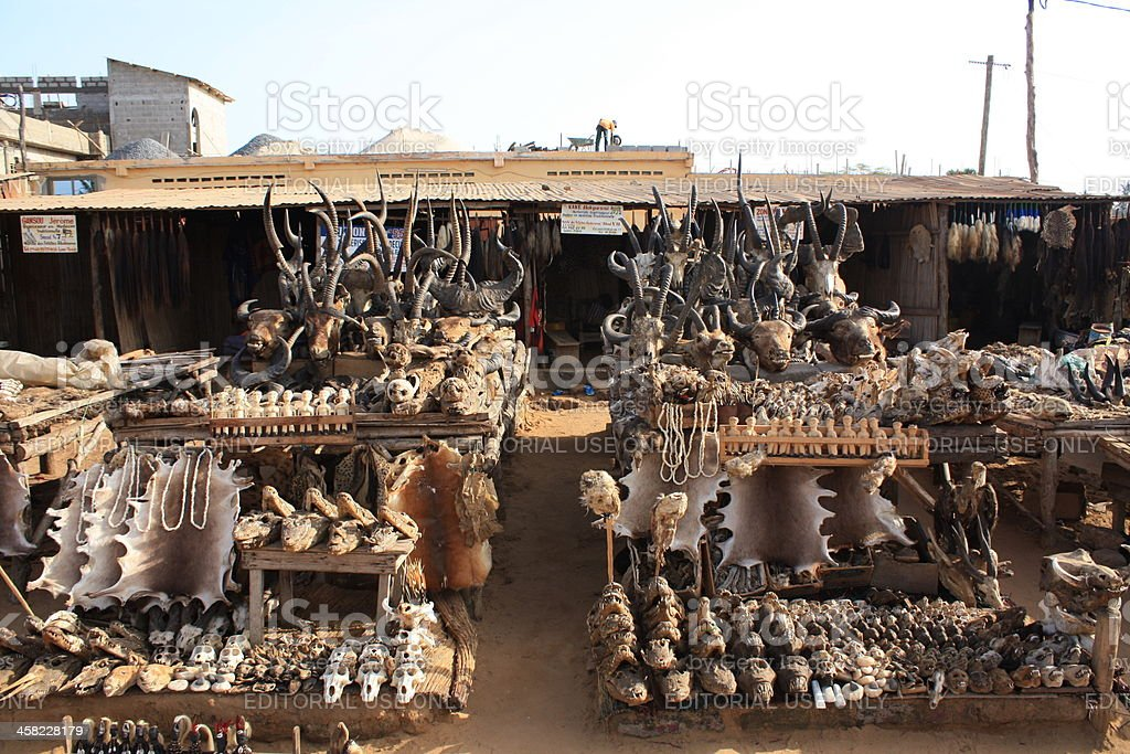 Akodessewa Fetish or Voodoo market of Lomé, West Africa stock photo