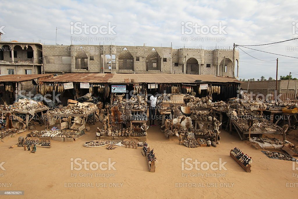 Akodessewa Voodoo or Fetish market of West African Lomé stock photo