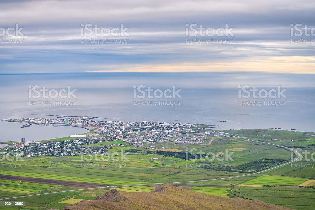 Akranes landscape seen from Akrafjall mountain stock photo