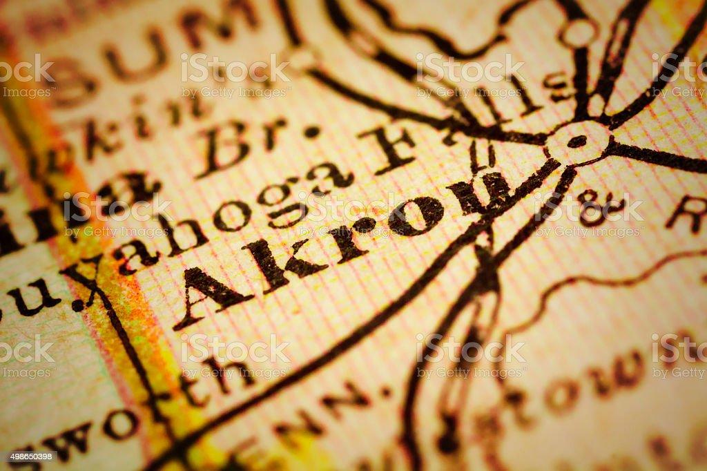 Akron, Ohio on an Antique map stock photo