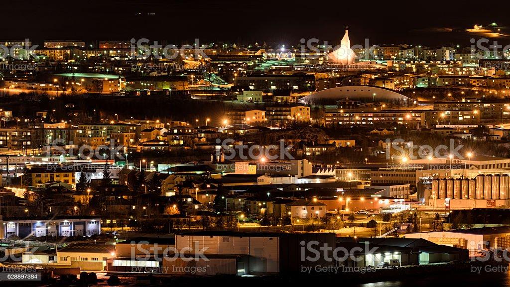Akureyri at night, Iceland stock photo