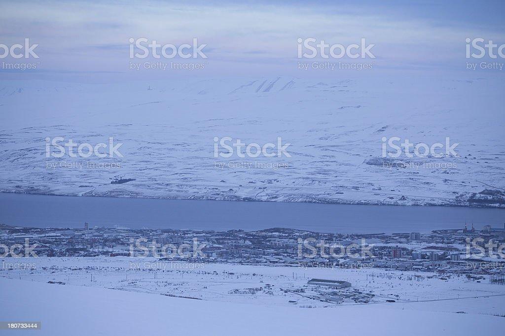Akureyri city view from mountain Iceland royalty-free stock photo