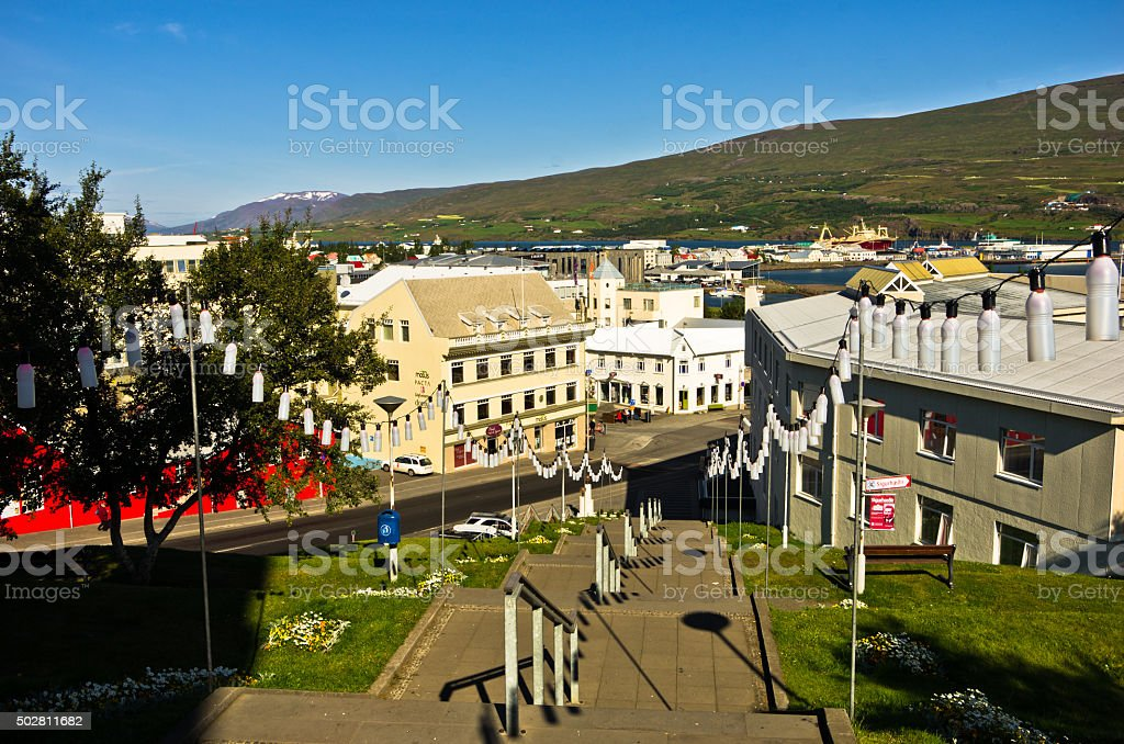 Akureyri downtown and harbor in north Iceland stock photo