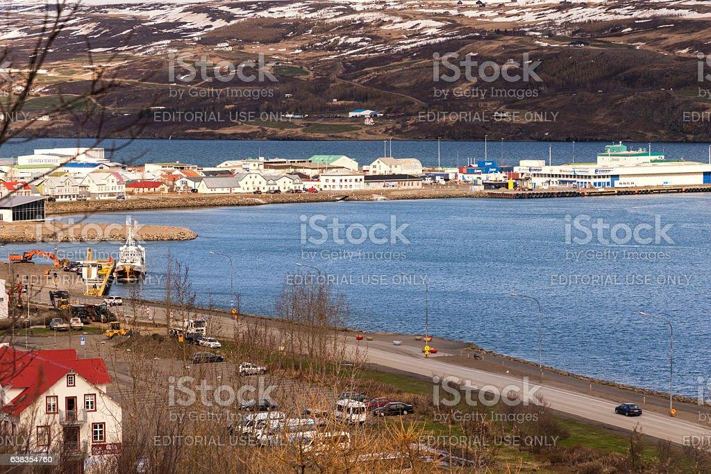 Akureyri Harbor stock photo