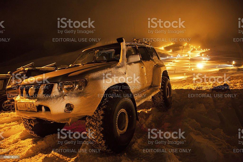 Akureyri Iceland winter in mountains jeep and ski slope royalty-free stock photo