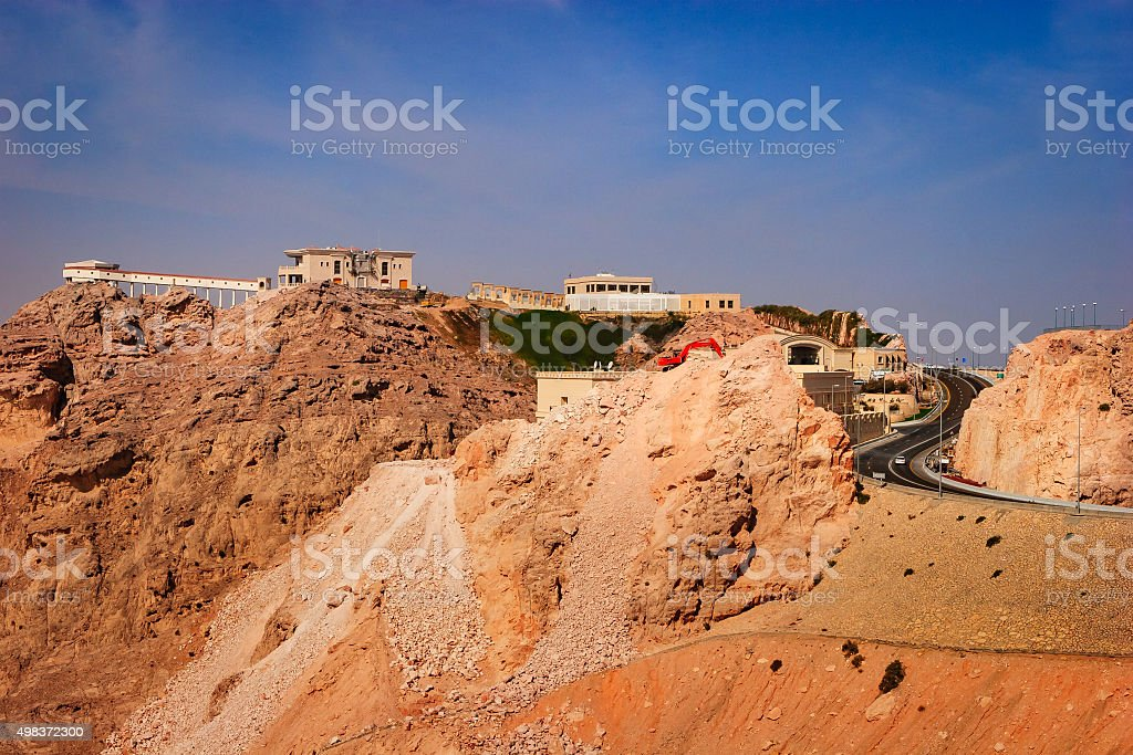 Al Ain, UAE: View from Jebel Hafeet; final approach road. stock photo