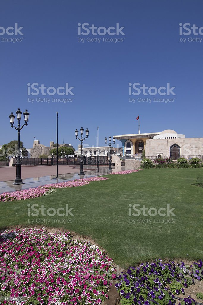 Al Alam Palace and Mirani Fort in old Muscat stock photo