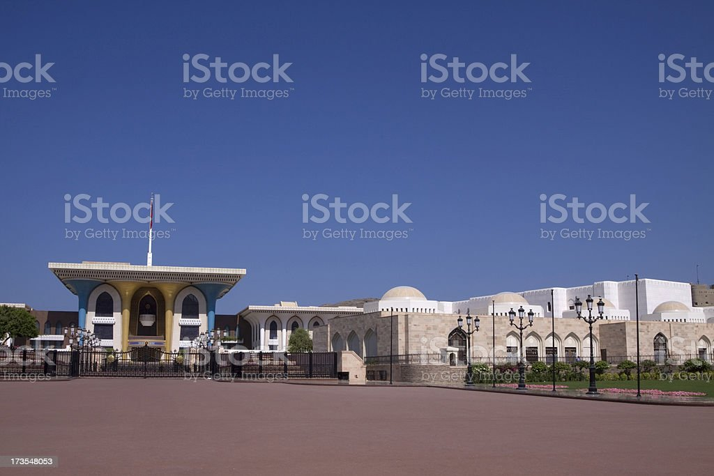 Al Alam Palace in old Muscat stock photo