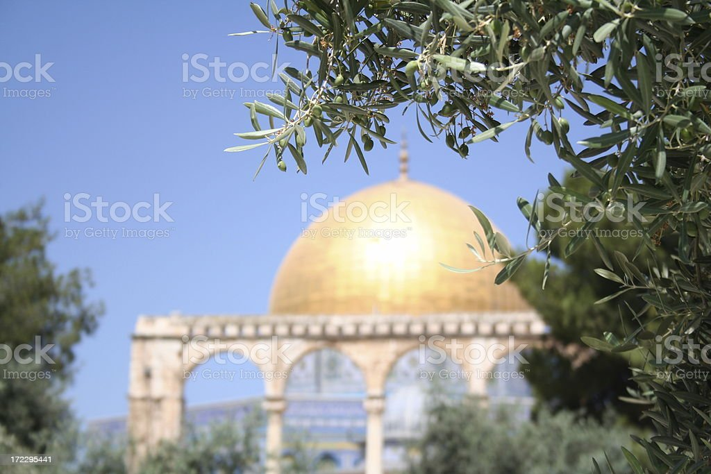 Al Aqsa and Olive Branches stock photo