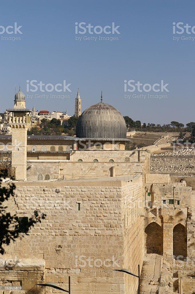 Al Aqsa mosque and minaret royalty-free stock photo