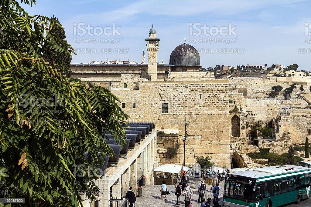Al Aqsa Mosque,  third holiest site in Islam. Jerusalem stock photo