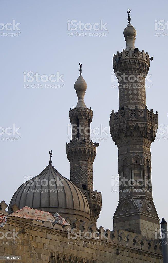 Al Azhar mosque minarets in Cairo, Egypt royalty-free stock photo