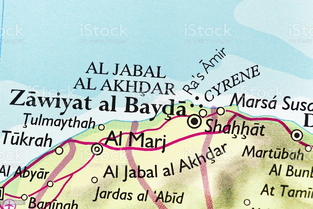 Al Bayda map, Libya stock photo
