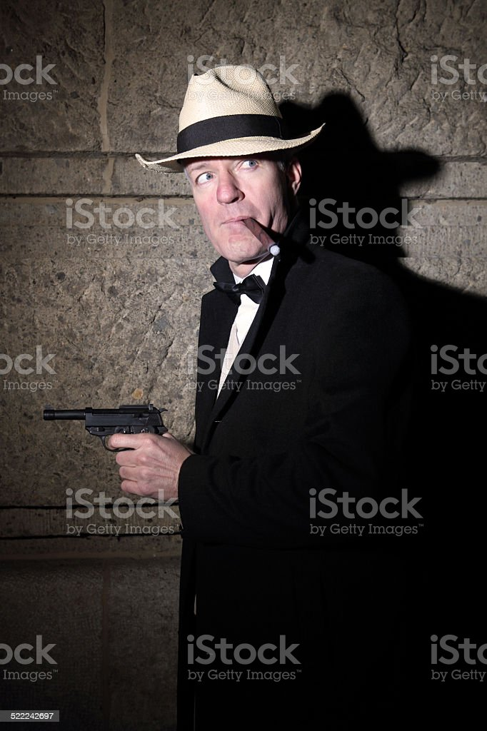 Al Capone gangster with gun in Film Noir style stock photo