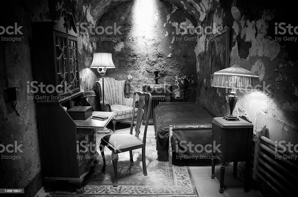 Al Capone's old prison cell in black and white stock photo