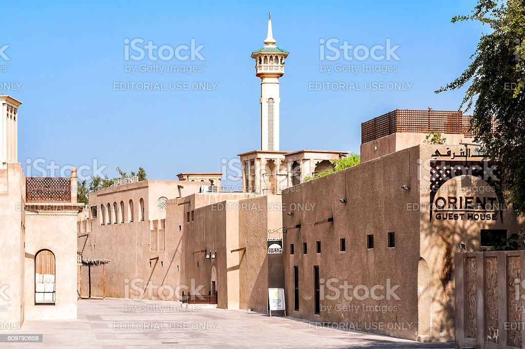Al Fahidi Historical Neighbourhood district (Al Bastakiya) in Dubai stock photo