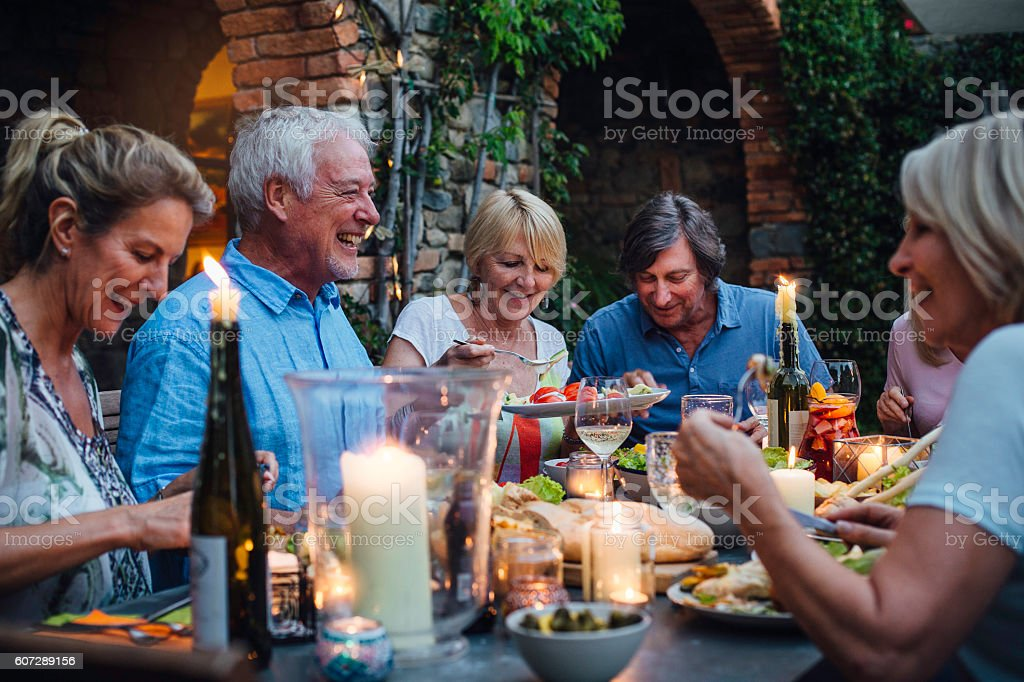 Al Fresco Dining by Candlelight stock photo