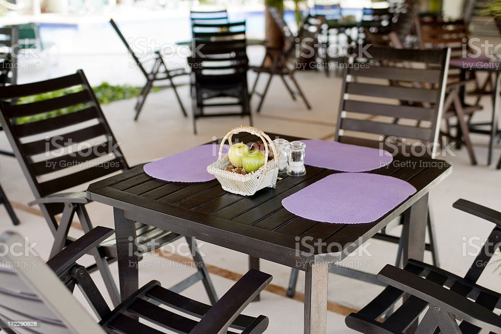 Al Fresco Dining in Tropical Resort, Empty royalty-free stock photo