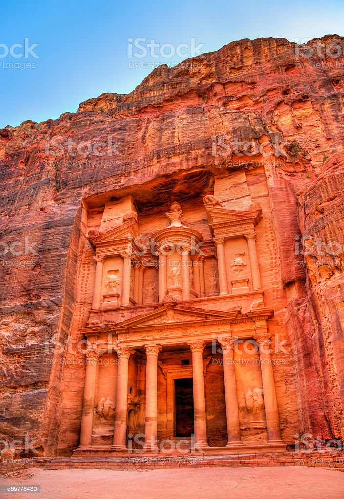 Al Khazneh temple in Petra. UNESCO world heritage site stock photo