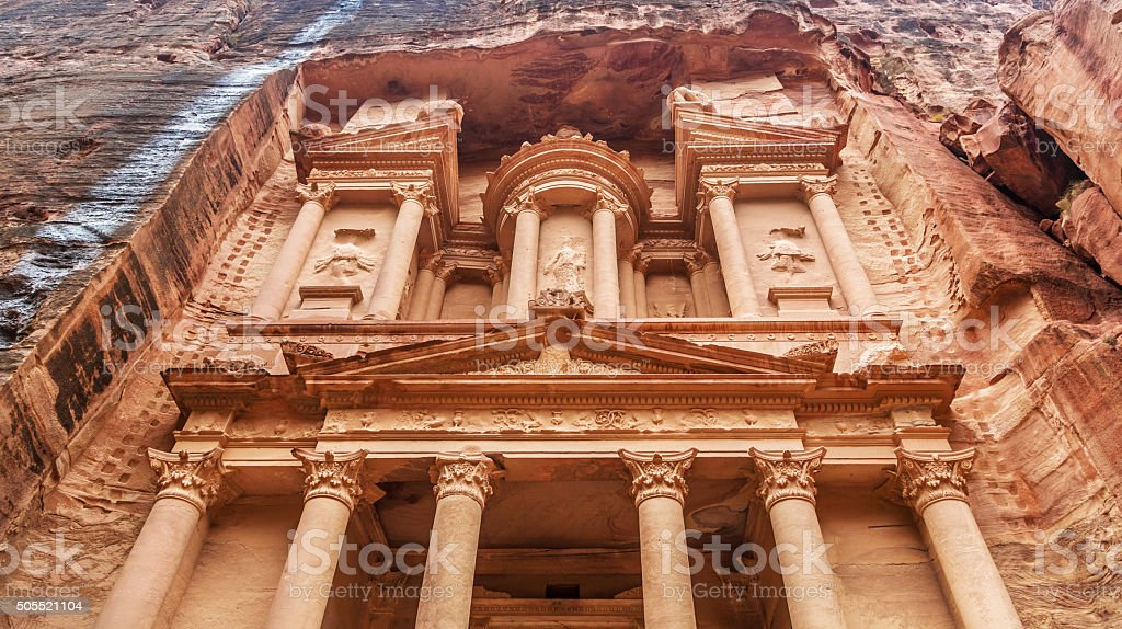 Al Khazneh - the treasury of Petra ancient city stock photo