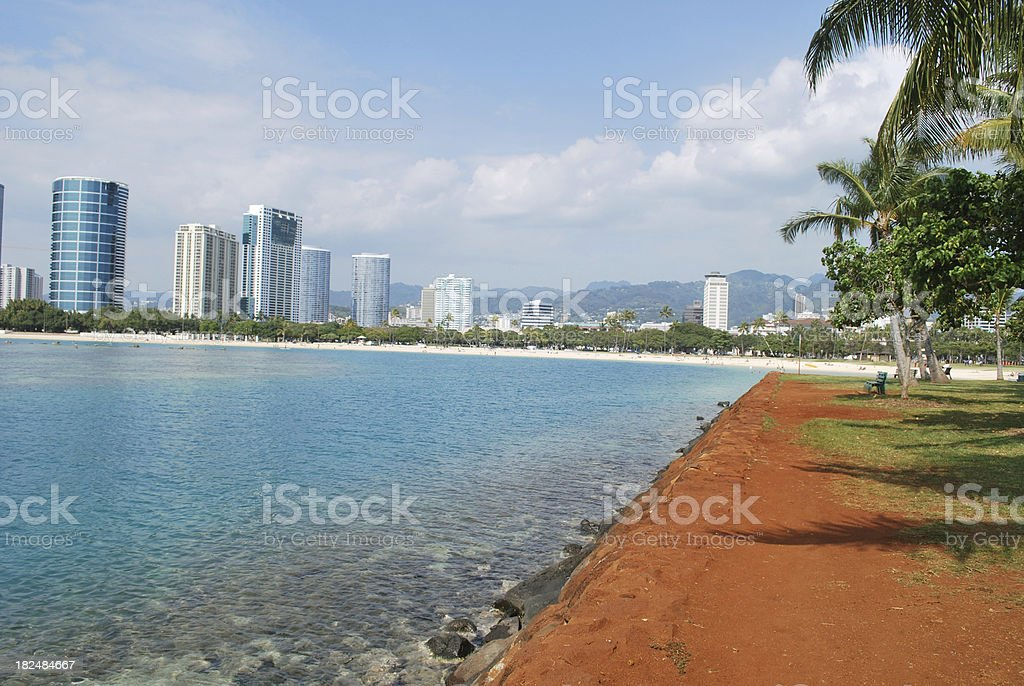 Ala Moana Park Skyline Honolulu Hawaii royalty-free stock photo