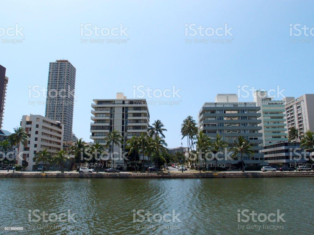 Ala Wai Canel in Waikiki stock photo