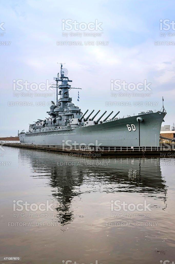 USS Alabama Battleship at Mobile stock photo