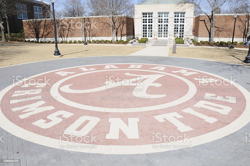 Alabama Crimson Tide logo at Paul W. Bryant Museum stock photo
