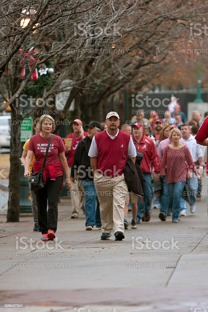 Alabama Fans Walk Toward Georgia Dome For SEC Title Game stock photo