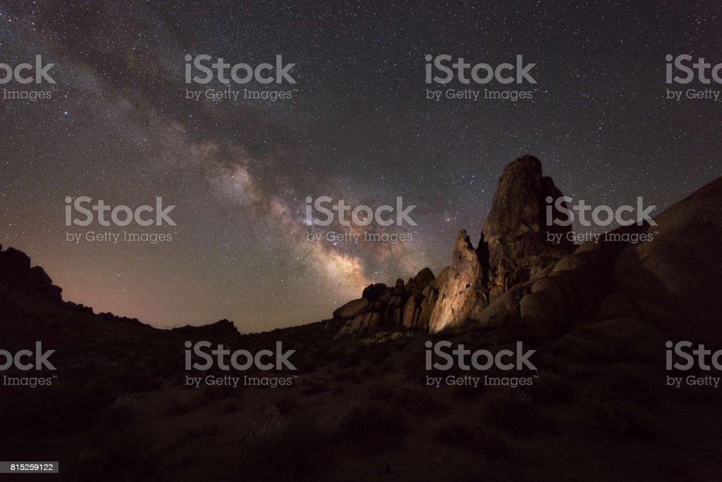 Alabama Hills at night stock photo