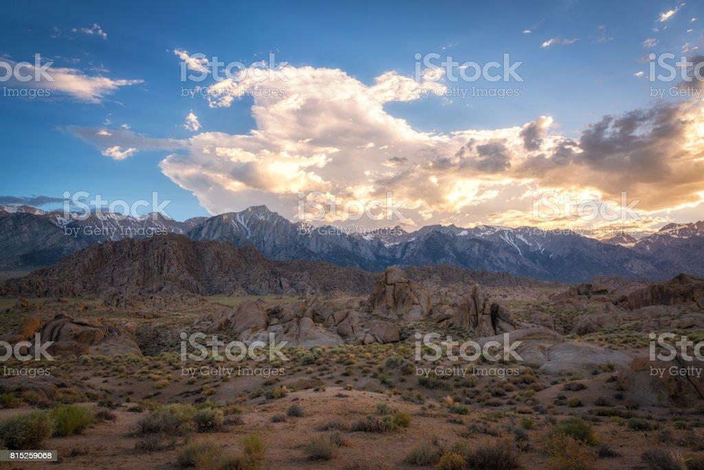 Alabama Hills Cloudy Sunset stock photo