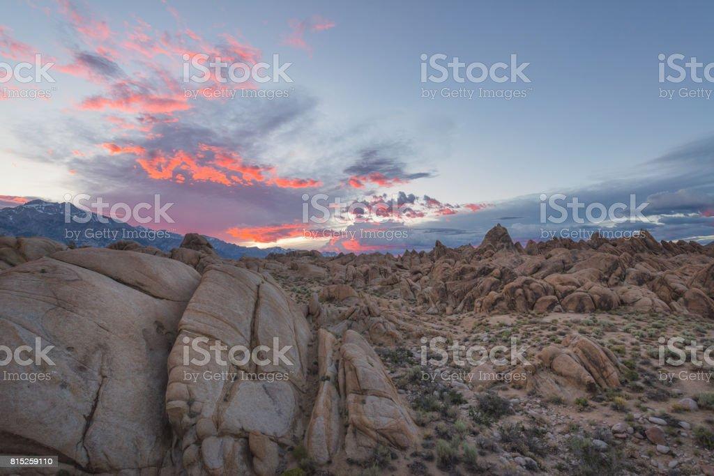 Alabama Hills Colorful Sunset stock photo