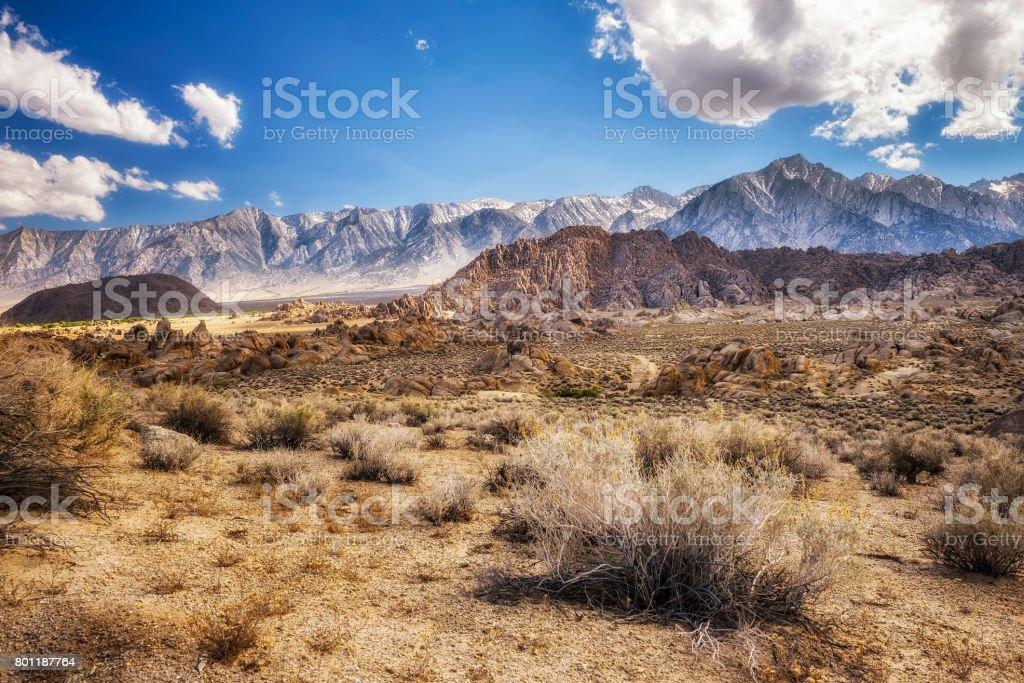 Alabama Hills in Sierra Nevada Mountains , California, USA stock photo
