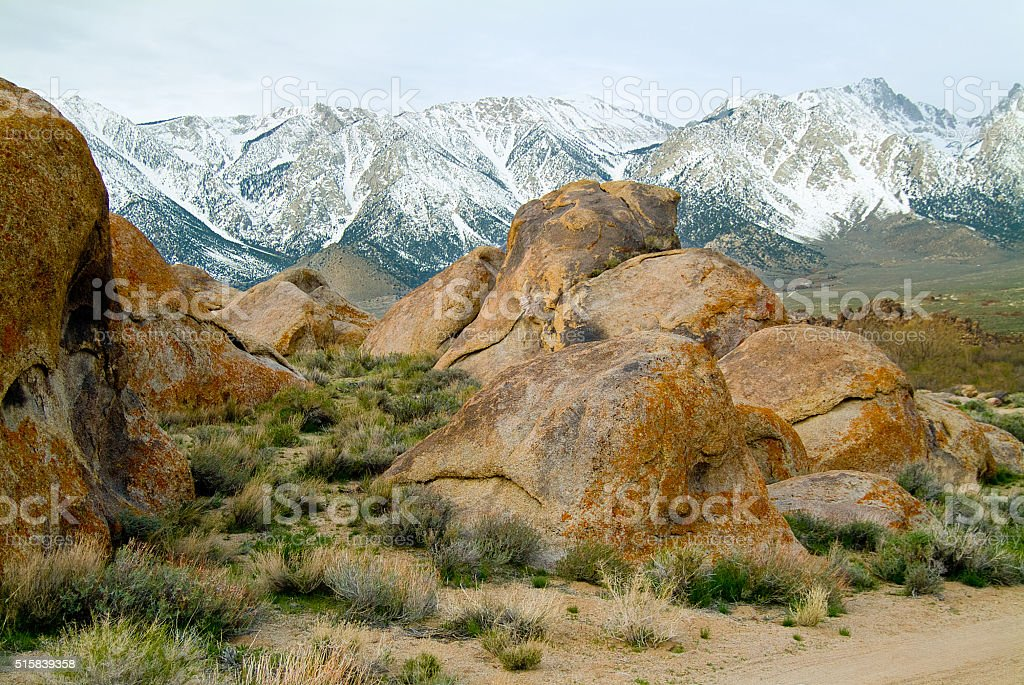 Alabama Hills,Lone Pine, California with Sierra Nevada mountains stock photo