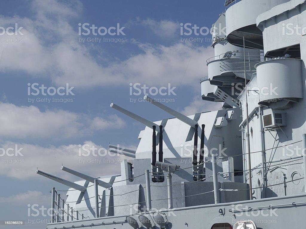 USS Alabama starboard guns stock photo