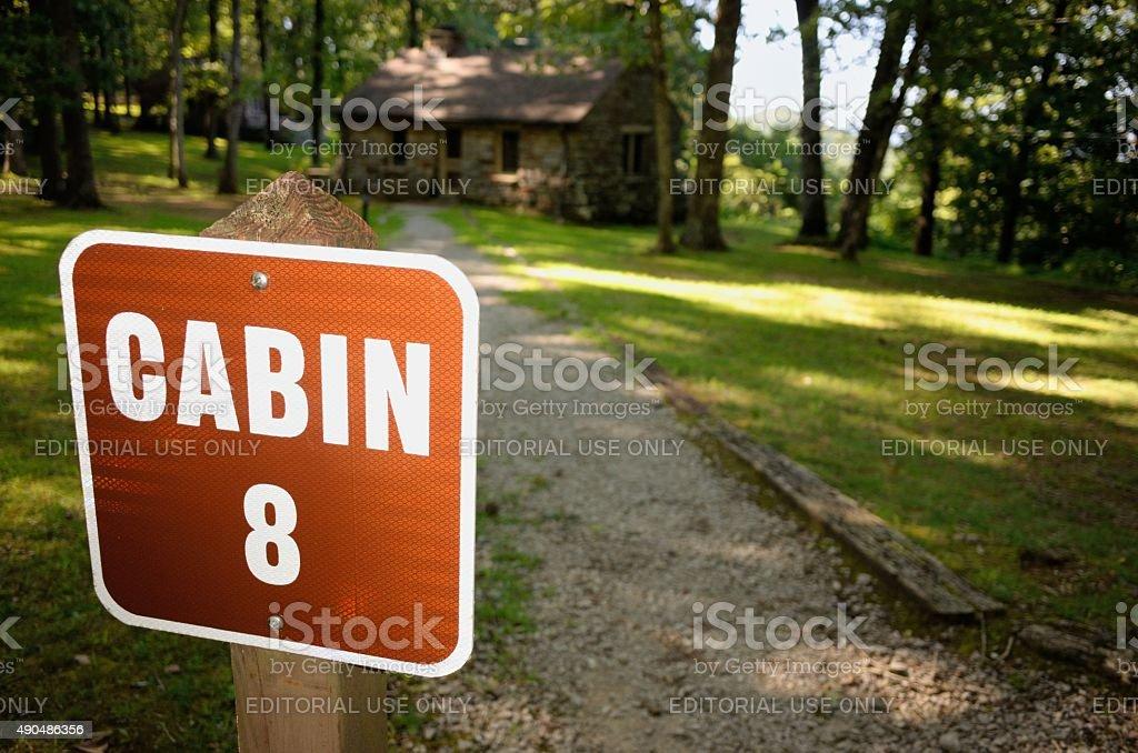Alabama state park cabin sign close up stock photo