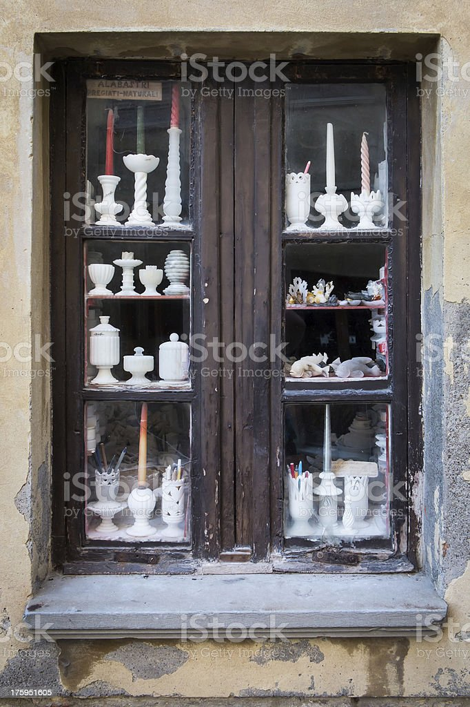 Alabaster workshop in Volterra stock photo
