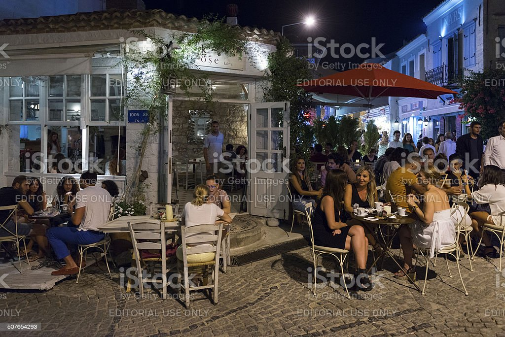 Alacati Street  in night royalty-free stock photo