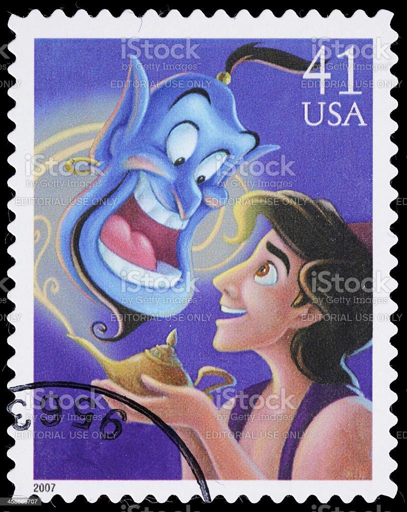 USA Aladdin and Genie postage stamp stock photo