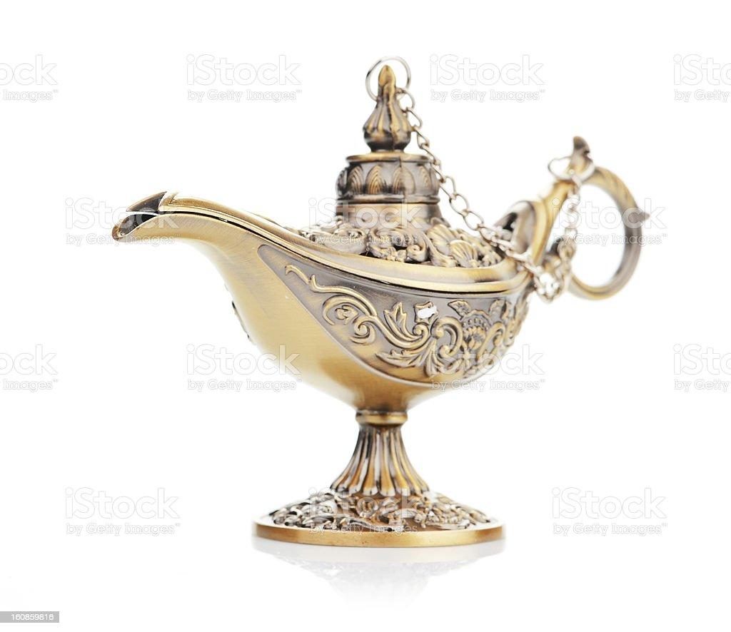 Aladdin magic lamp isolated on white stock photo
