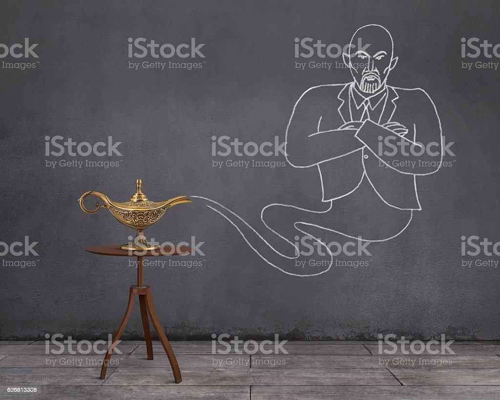 Aladdin's Magic Lamp and Businessman Genie stock photo