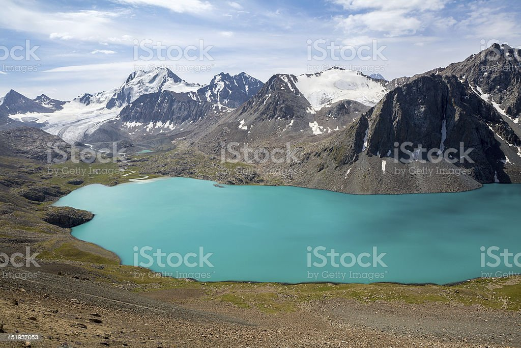 Ala-Kul lake in Tien Shan mountains stock photo
