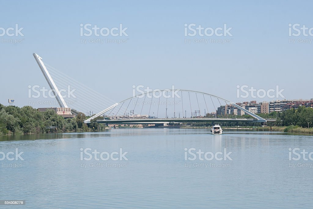 Alamillo bridge. Calatrava bridge. Seville (Spain) stock photo