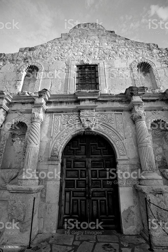 Alamo in black and white stock photo