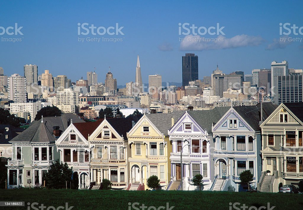 Alamo Sqaure Victorian Houses in San Francisco royalty-free stock photo