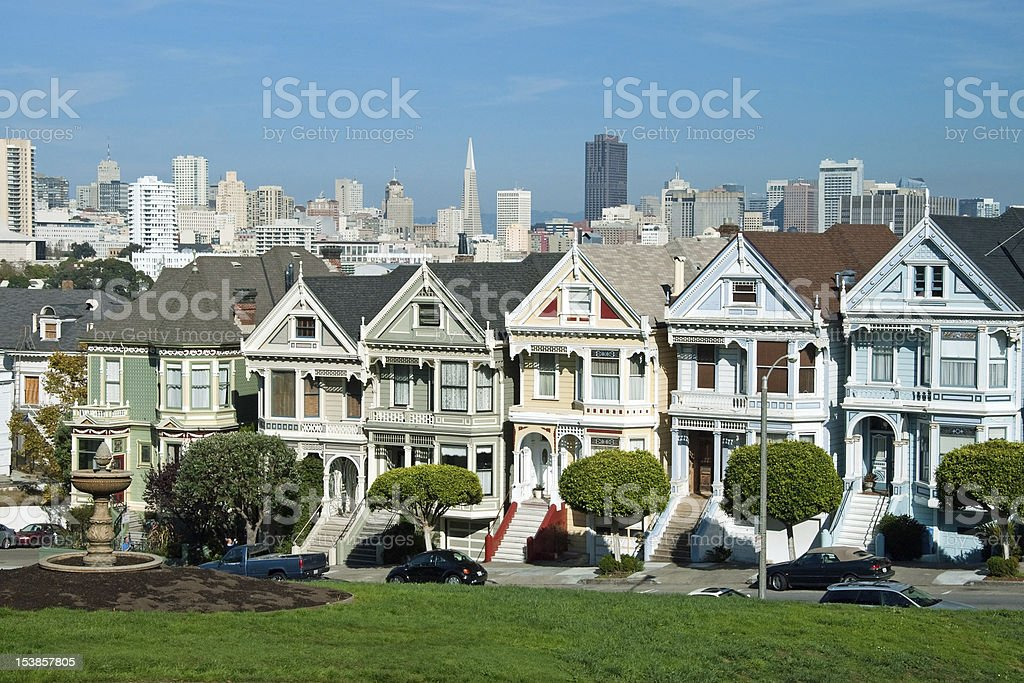 Alamo Square in San Francisco with Victorian houses stock photo
