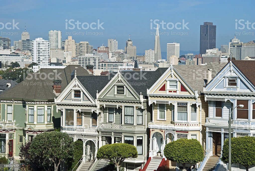 Alamo Square in San Francisco with Victorian houses royalty-free stock photo