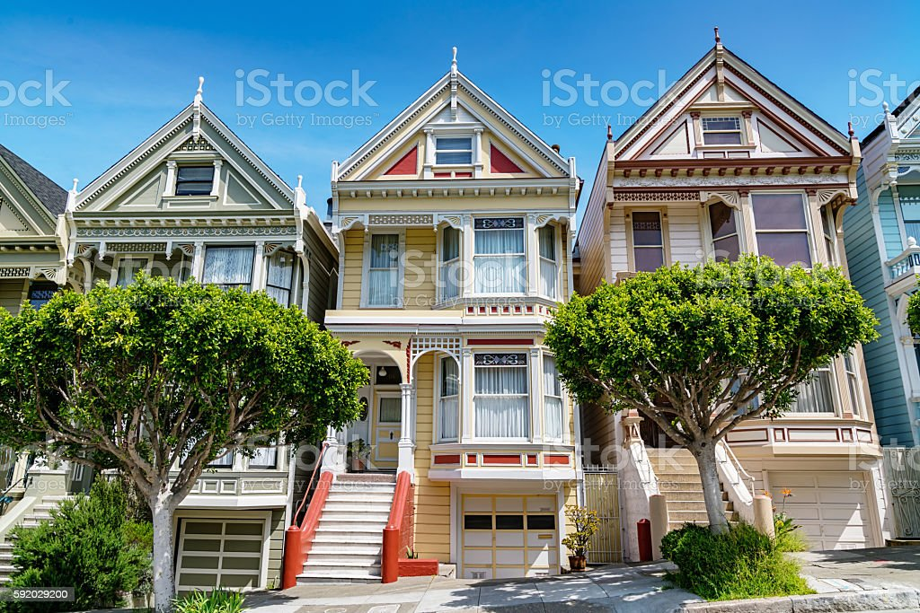 Alamo Square Painted Ladies in San Francisco California USA stock photo