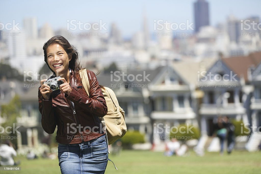 Alamo Square San Francisco Tourist stock photo